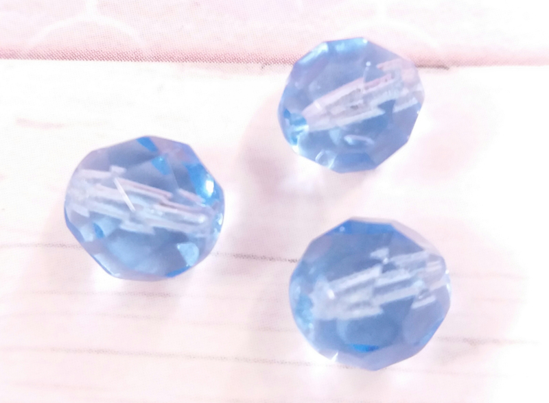 10x glaskraal facet transparant blauw 8 mm Gat: 1 mm