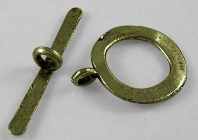 4 x Tibetaans zilveren sluiting, geel koper kleur slot: 17 x 21mm Staafje: 29mm lang gat: 2mm