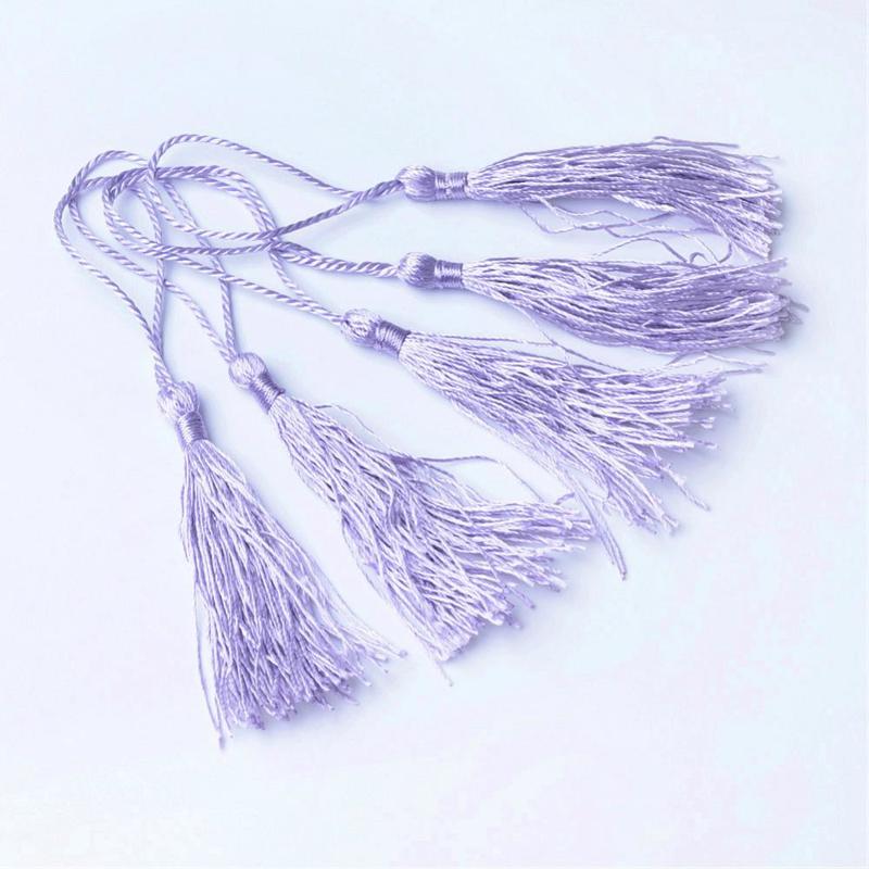 2 x Satijn kwast lengte kwast 9 cm incl. lus 130 x 6mm lilac