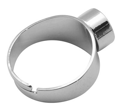 Per stuk prachtige verstelbare basis ring zilver 17 diameter voor 8mm puntsteen