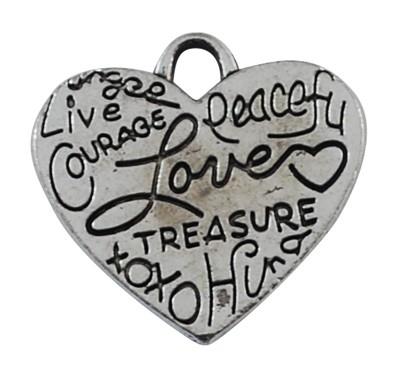 5x Prachtig tibetaans zilveren hanger hart 24 x 23 x 2mm, gat: 6mm