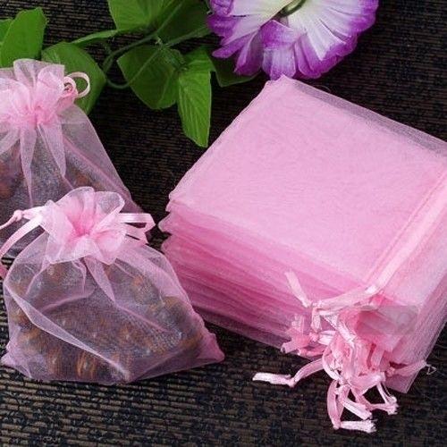 c.a. 50 stuks mini organza zakjes 5 x 7 cm  roze