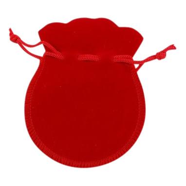3x Luxe rood zakje velours met koordje 9 x 7 cm