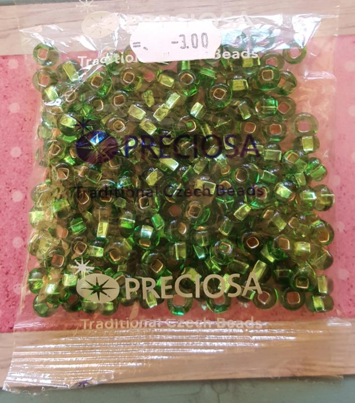 Zakje Preciosa  glaskralen 6 x 4mm groen