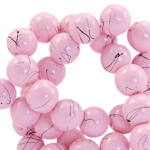 15  stuks  6 mm glaskralen drip-art Light pink