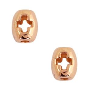 """1 stuks DQ metaal tube met """"+"""" 6x5mm Rosé goud (nikkelvrij)"""