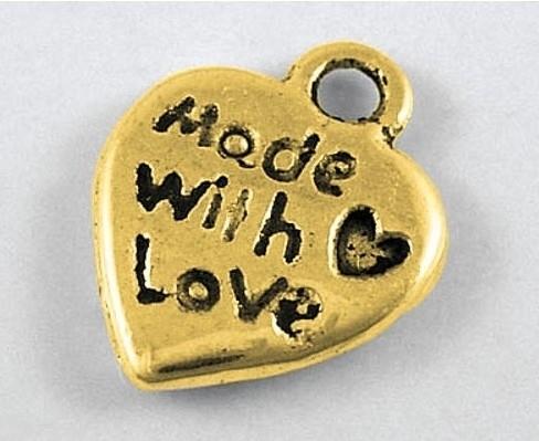 10 stuks Tibetaans zilveren made with love bedeltje 12,5mm x 10mm goud