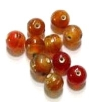 Per stuk Glaskraal India rond oranje/rood gemeleerd 9 mm