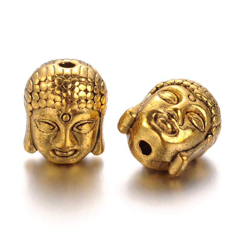 1 x  Tibetaans zilveren Buddha kraal 11 x 9 x 8mm gat: 2mm goudkleur