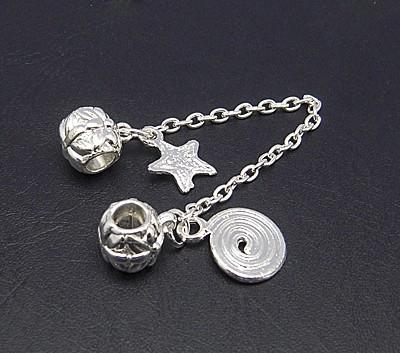 1 x Silver Plated veiligheidsketting European Jewelry 10 x 105 x 10mm Gat: 5mm