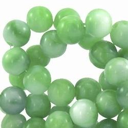 10 stuks kunststof kraal rond groen gemeleerd 8 mm