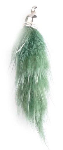 Super zachte Pluizenhanger - Fluffy 40 x 15mm oogje 2mm donker groen