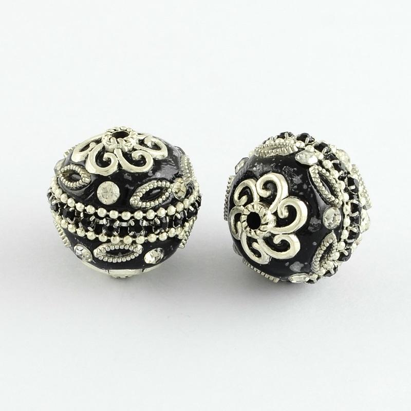Schitterende handgemaakte Kashmiri kraal 20mm zwart ingelegd met metaal & strass