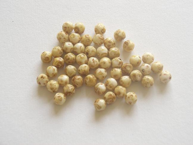 50 stuks Geelbruine ronde kraal van 6mm Gat: 1mm