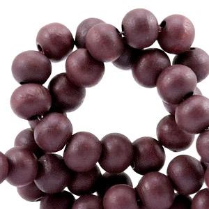 20 Houten Kralen Rond 6 mm Warm aubergine purple