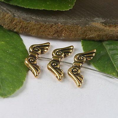 10 stuks tibetaans zilveren vleugeltje 16 x 5 x 3mm gat: 1,5mm (klein) goudkleur