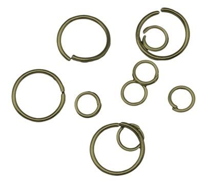 100 stuks geel koperen gemengde ringetjes van 4mm t/m 12mm 0,7mm dik