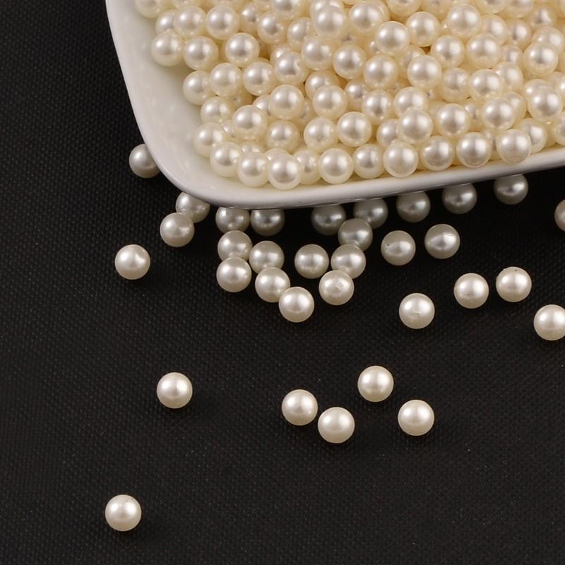 10 stuks ronde actyl parels zonder gat beige Ivoor 10mm
