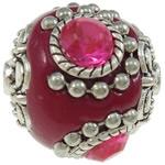 Schitterende handgemaakte Kashmiri kraal 22mm ingelegd metal & strass donker roze met zilver