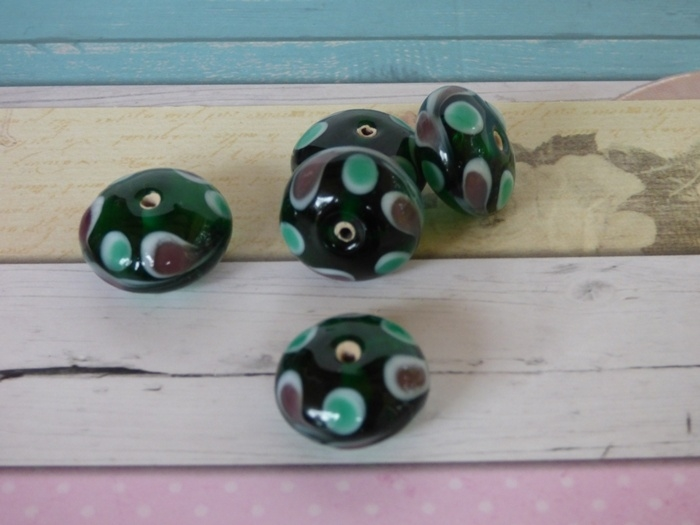 5 x High Quality Glass Hand Made Bead 068  afm. ca. 11 x 18mm
