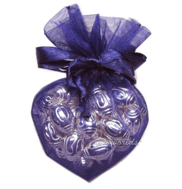 20 stuks luxe hartvormige organza zakjes 10cm x 8.75cm aubergine