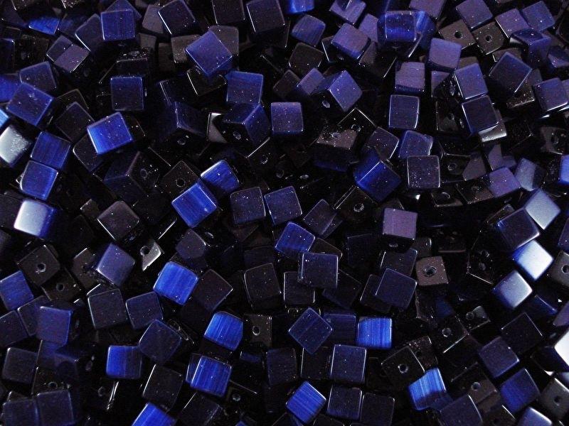 20 stuks Glaskraal kubus cate-eye 4mm donker blauw