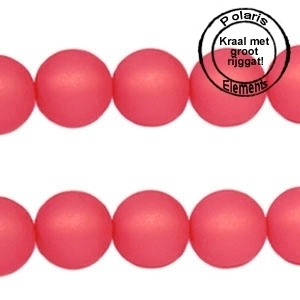 5 x Polaris kralen mat rond 10 mm Paparacha roze groot gat 2,5mm