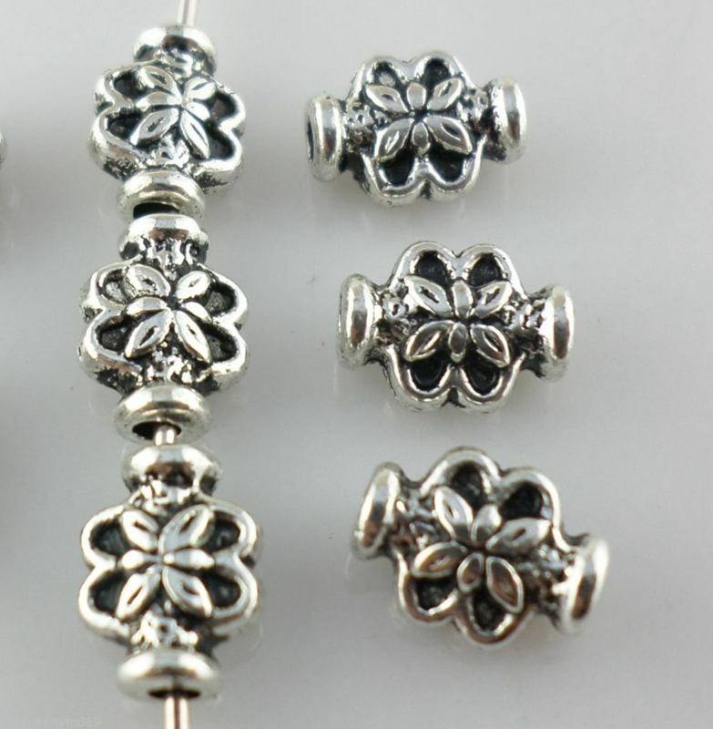 20 stuks tibetaans zilveren spacer beads kraaltjes bloem 6 x 8mm gat: 1mm