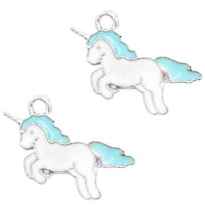 2x Metalen bedels unicorn Silver-turquoise blue