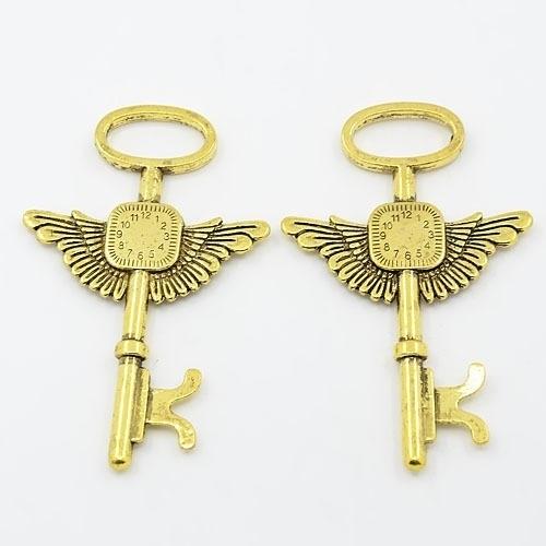 Prachtige grote tibetaans zilveren (goudkleur) hanger van een sleutel 75 x 44 x 2mm Gat: 10mm