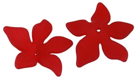 10 x Prachtige acryl bloem kelk 29 x 27 x 8mm Gat 2mm rood