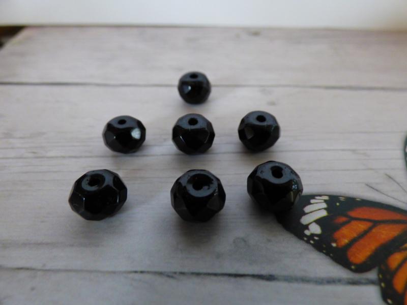 10 x Luxe facet Donut  Glaskraal zwart 8 x6 mm gat: 1mm