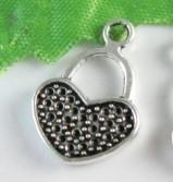 10x Tibetaans zilveren bedel hart 20x13mm