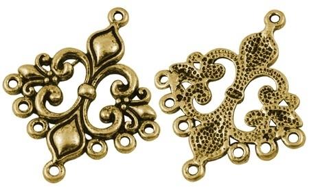 2 stuks tibetaans zilveren oorbellen ornamenten 36mm x 30mm x 2mm gat: 1.5mm goudkleur