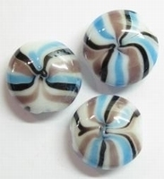 Per stuk Luxe Italien-style kraal plat rond aqua/donker blauw/lila 20 mm