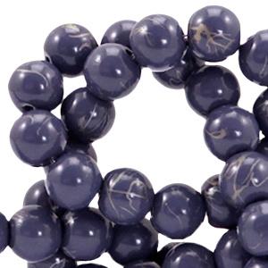 10  stuks  8 mm glaskralen drip-art Donker blauw paars