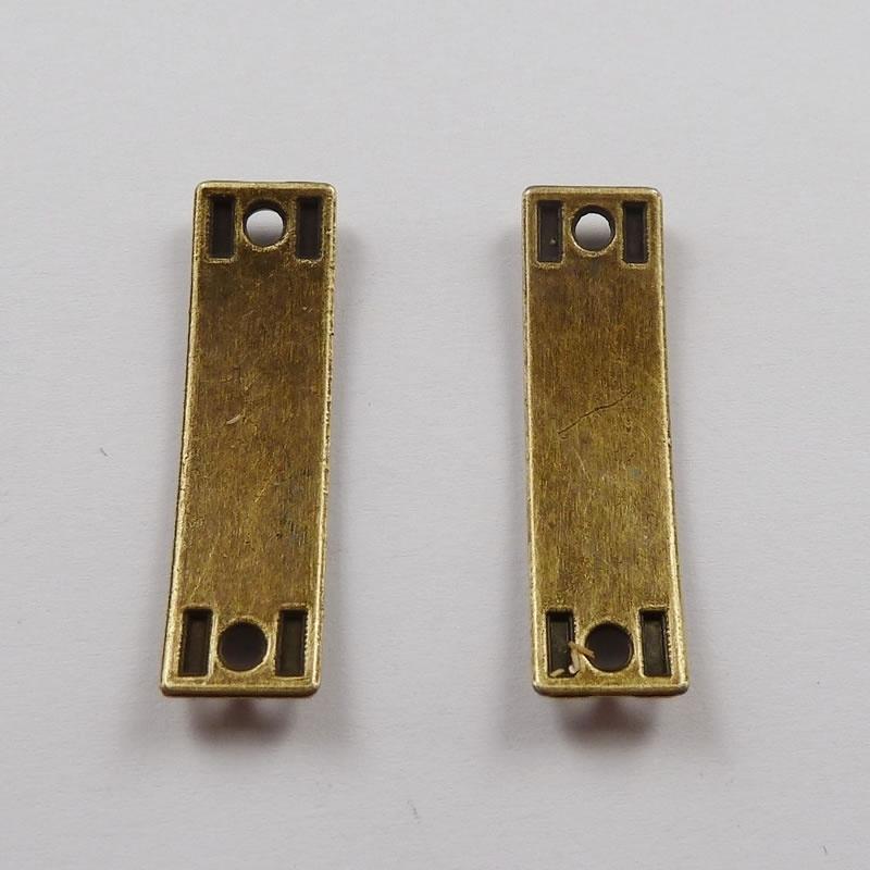 5 x Bar link  tussenzetsel 35 x 10mm geel koper Best Friend gat 3mm