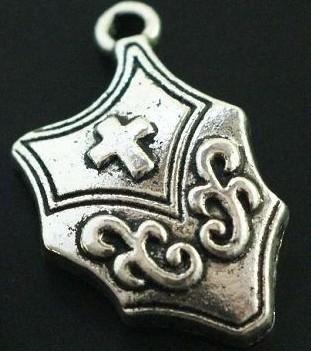 10x Tibetaans zilveren schild van een ridder 22 x 14mm