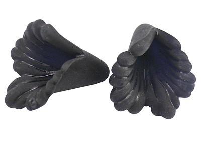 10 x prachtige acryl bloem kelk zwart 20 x 20 x 2mm gat: 1,5mm