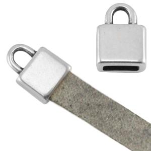 DQ metaal eindkapje vierkant (voor 5mm plat leer antiek zilver ca. 7x6x5mm Ø 5.2x2.2mm