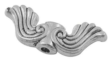 10 stuks tibetaans zilveren engelen vleugel 19 x  7,5 x 3,5mm gat 1,5mm