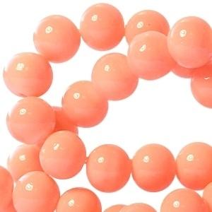 15 stuks Keramische Glaskralen 8mm Tropical peach orange