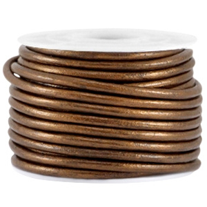 20 cm DQ leer rond 3mm Dark copper brown metallic