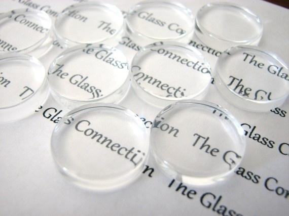 4 x cabochon glas transparant plat rond Ø 25mm