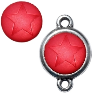 1 x  Polaris cabochon ster matt 15 mm True red zonder houder
