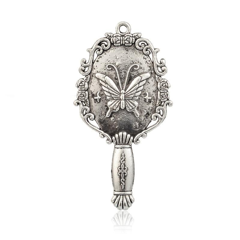 Prachtige tibetaans zilveren handspiegeltje 38 x 72 x 6mm Gat 2mm antiek zilver
