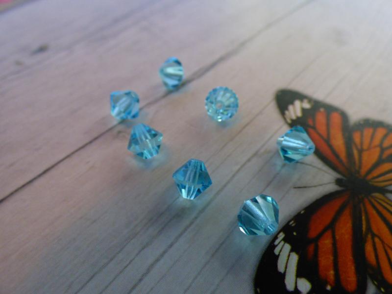 20x Preciosa Kristal Bicone afmeting ca. 6mm oogje:1mm
