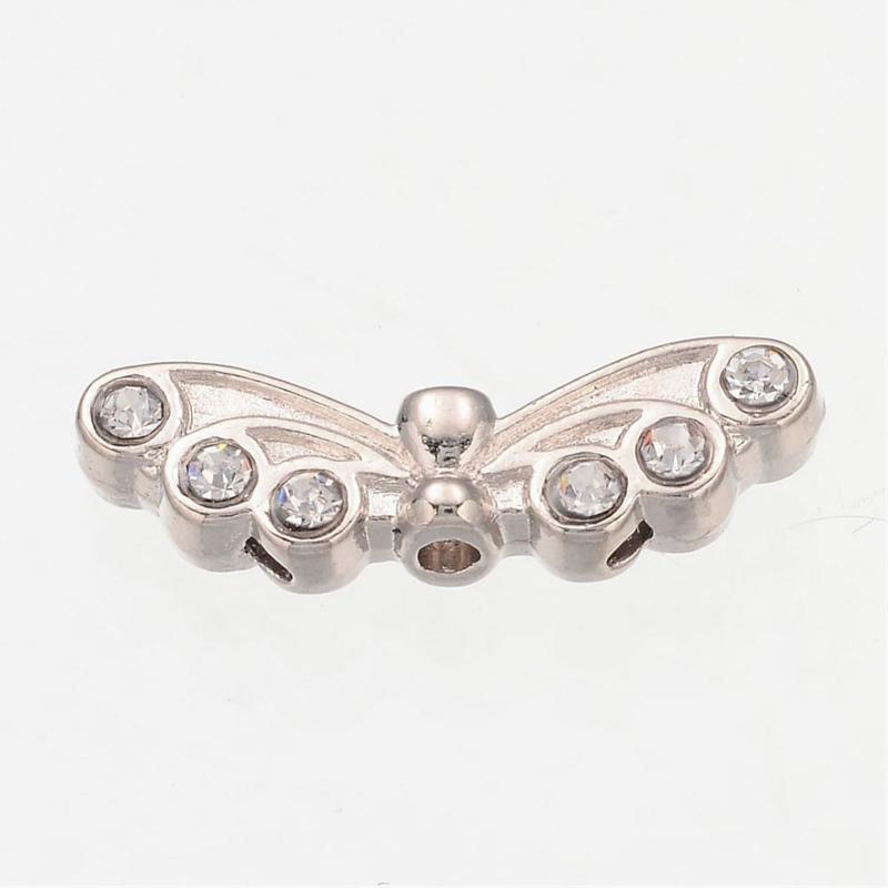 2 x Tibetaans zilveren kraal van een engelen vleugel platinum met strass  22 x 7 x 4mm gat: 1,5mm