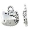 5 x Tibetaans zilveren Hello Kitty Bedel 11 x 13 x 2,5mm