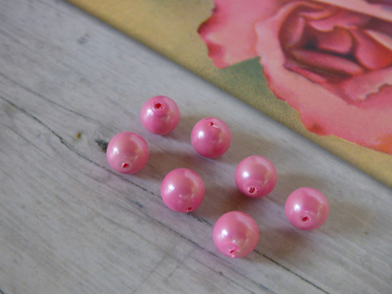 20 x roze gemeleerd ca. 7.5mm  Gat: 0.9mm Glas